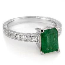 Lot 6748: 2.15 ctw Emerald & Diamond Ring 18K White Gold - REF-64W2H - SKU:11587