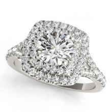 Lot 6756: 1.67 ctw VS/SI Diamond 2pc Set Solitaire Halo 14K White Gold - REF-176X4R - SKU:30695