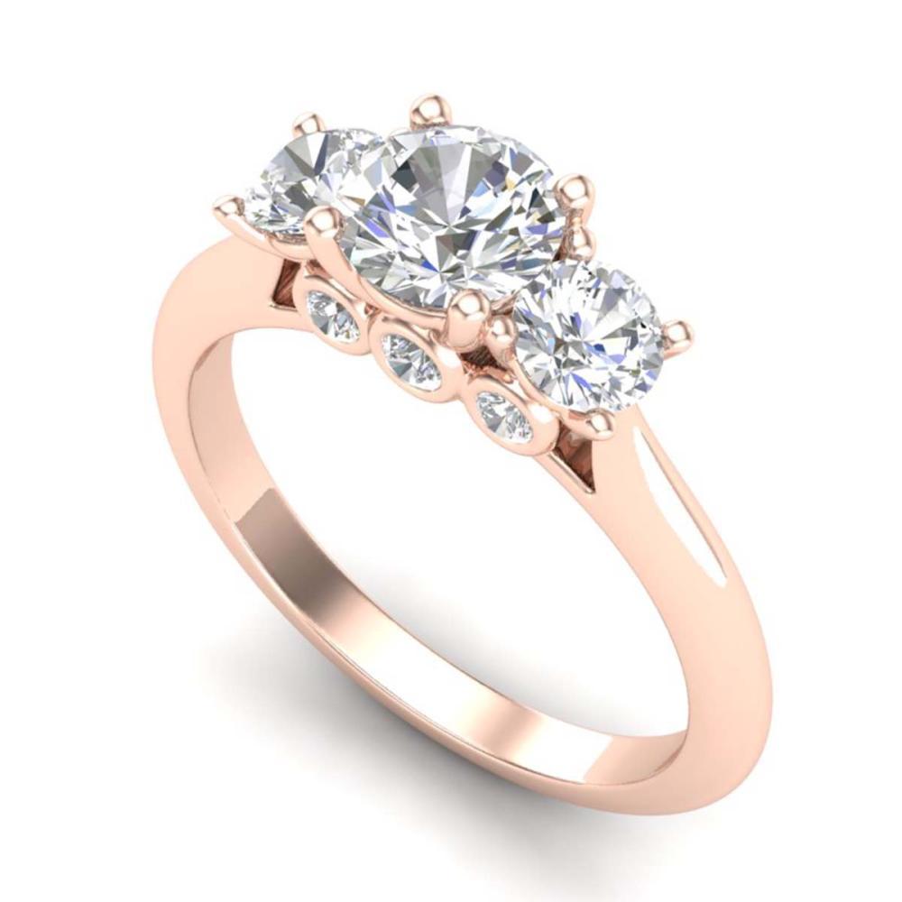 Lot 6752: 1.50 ctw VS/SI Diamond Solitaire Art Deco 3 Stone Ring 18K Rose Gold - REF-236R4K - SKU:37314