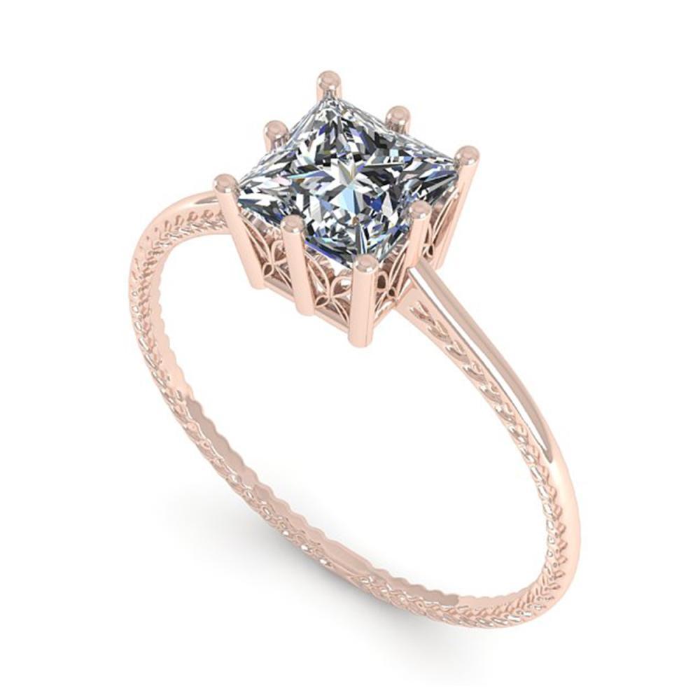 Lot 6769: 1.0 ctw VS/SI Princess Diamond Ring 18K Rose Gold - REF-287N4A - SKU:35894