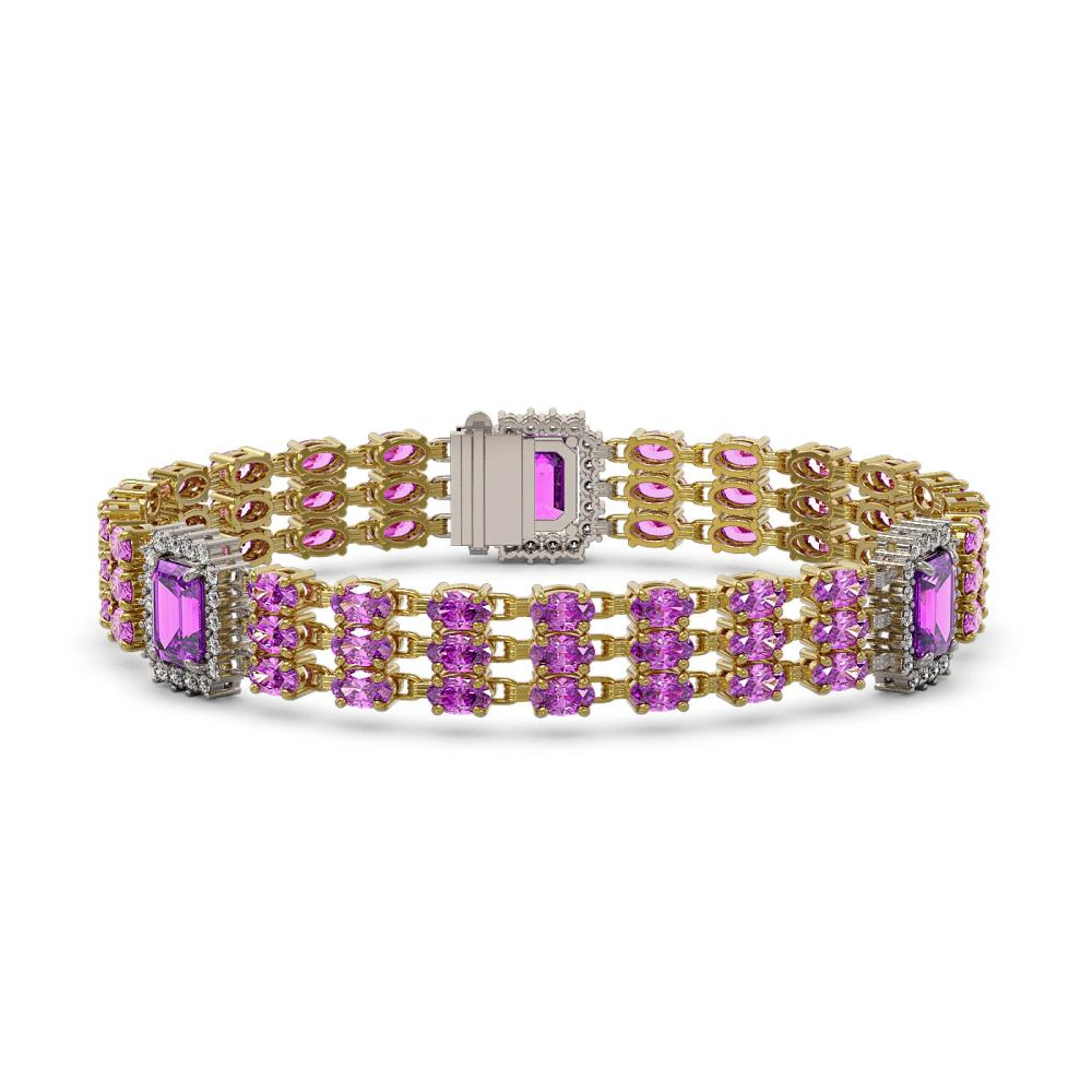 Lot 6770: 22.77 ctw Amethyst & Diamond Bracelet 14K Yellow Gold - REF-290H7M - SKU:45406