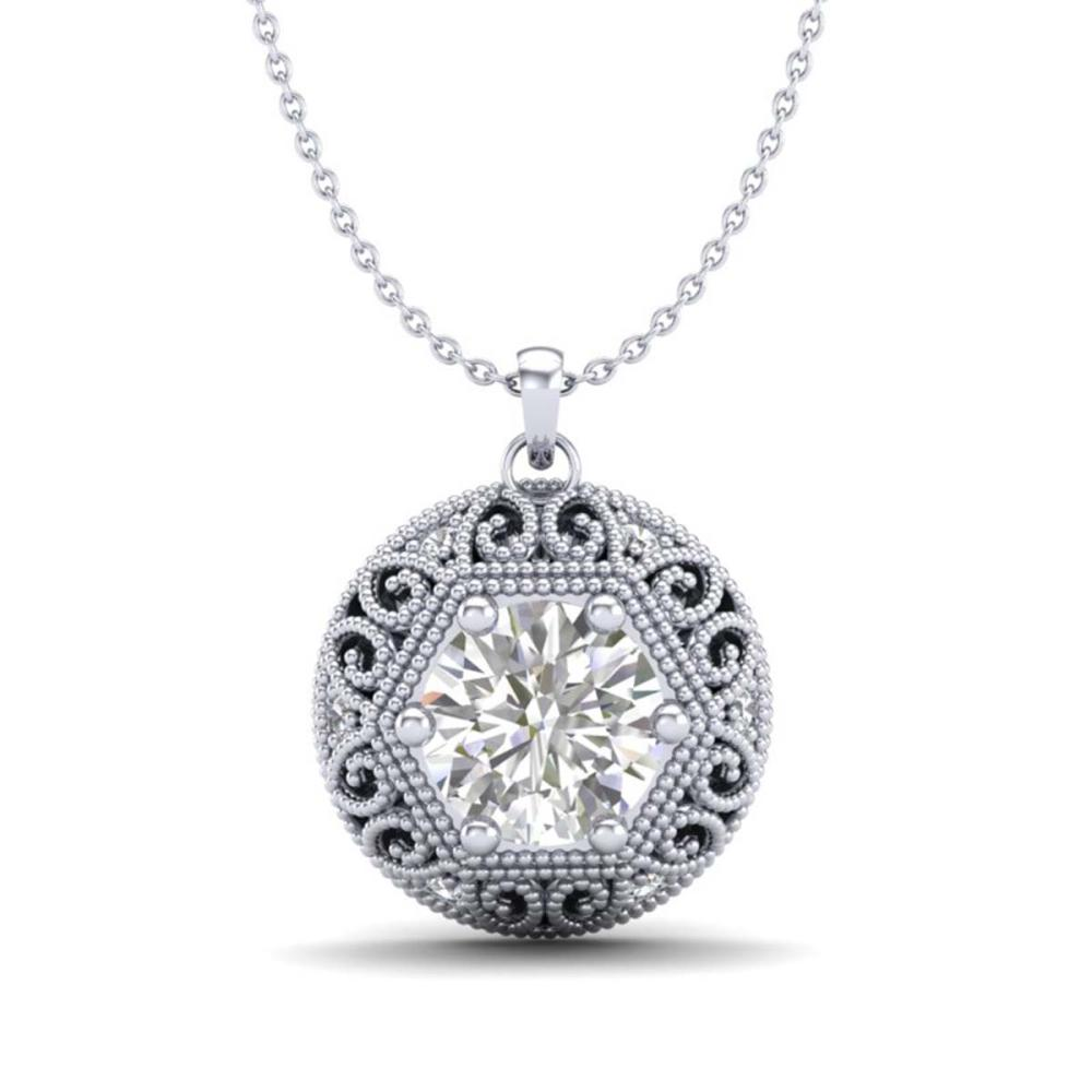 Lot 6771: 1.11 ctw VS/SI Diamond Solitaire Art Deco Stud Necklace 18K White Gold - REF-285X2R - SKU:36923