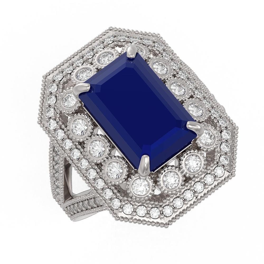 Lot 6762: 7.11 ctw Sapphire & Diamond Ring 14K White Gold - REF-171H5M - SKU:43370