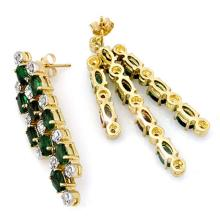 Lot 6797: 4.03 ctw Emerald & Diamond Earrings 14K Yellow Gold - REF-109H3M - SKU:14279