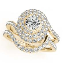 Lot 6780: 2.23 ctw VS/SI Diamond 2pc Wedding Set Halo 14K Yellow Gold - REF-318H7M - SKU:31303