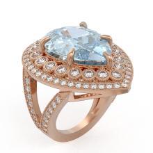 Lot 6781: 18.04 ctw Sky Topaz & Diamond Ring 14K Rose Gold - REF-251F6N - SKU:43290