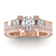 Lot 6799: 5.5 ctw VS/SI Diamond Art Deco 3 Stone Ring 14K Rose Gold - REF-559V3Y - SKU:30295