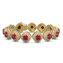 Lot 6776: 37.35 ctw Ruby & Diamond Bracelet 14K Yellow Gold - REF-928X2R - SKU:44149