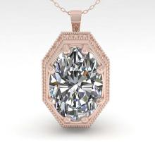Lot 6822: 1 ctw VS/SI Oval Cut Diamond Necklace 18K Rose Gold - REF-287W7H - SKU:35999