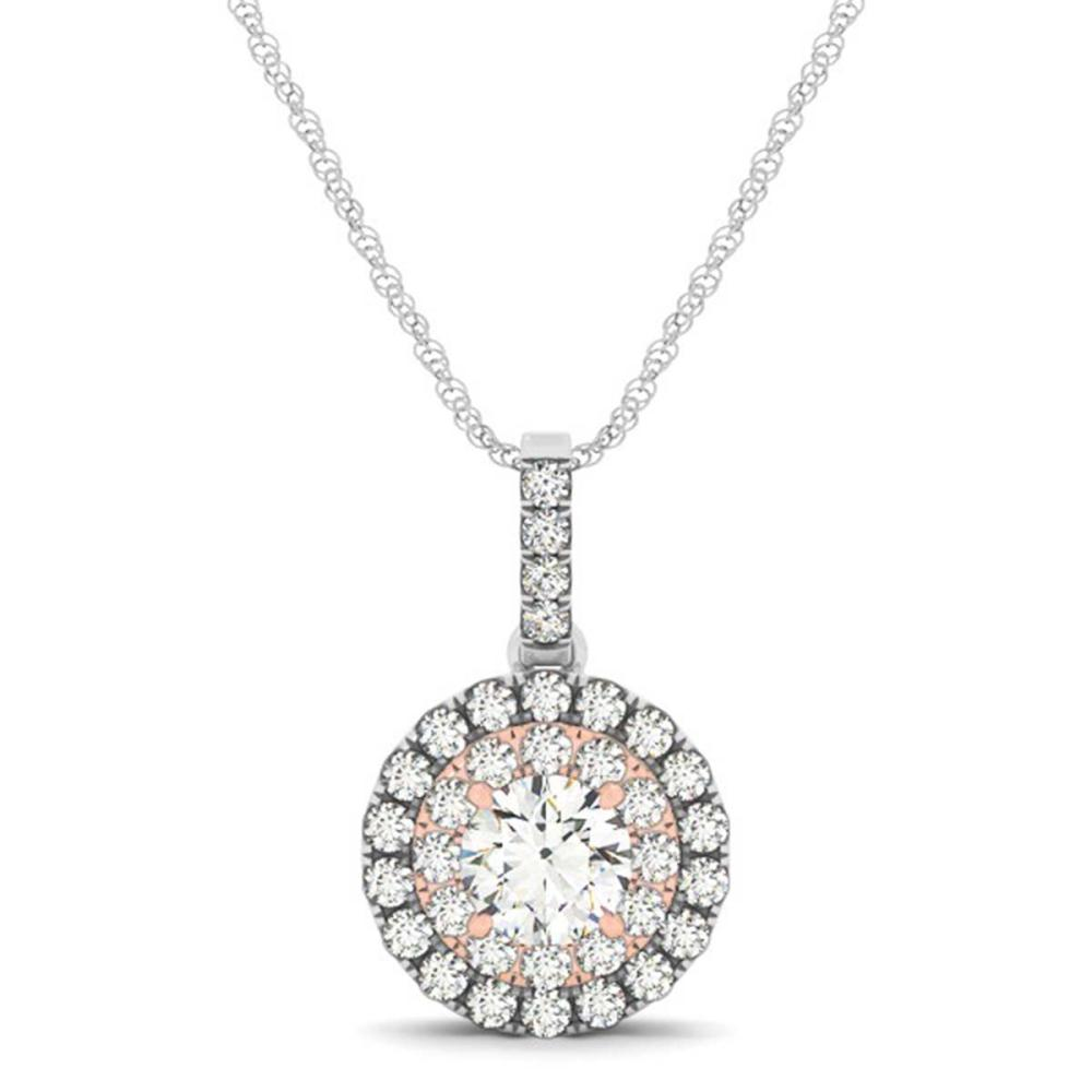 Lot 6823: 0.55 ctw SI Diamond Halo Necklace 14K White & Rose Gold - REF-60N5A - SKU:29932