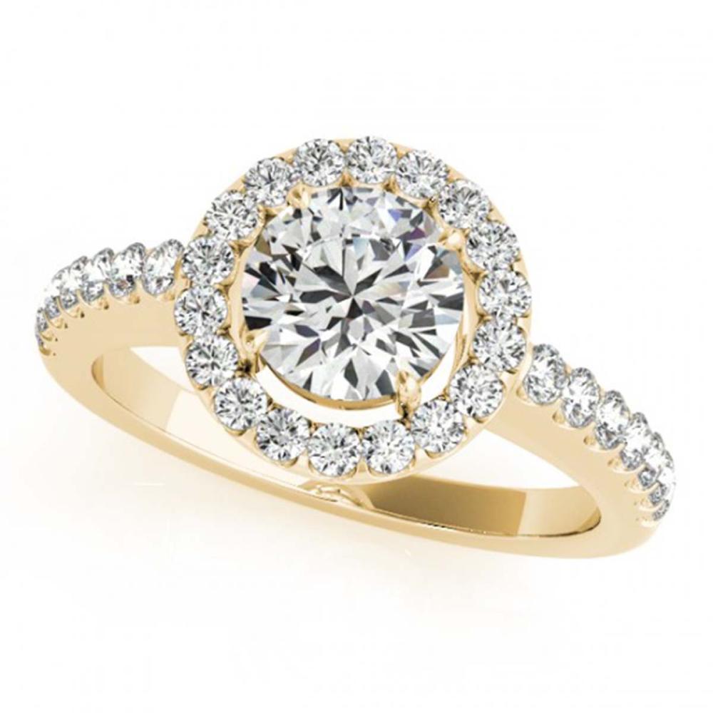 Lot 6809: 0.96 ctw VS/SI Diamond 2pc Wedding Set Halo 14K Yellow Gold - REF-104M3F - SKU:30776