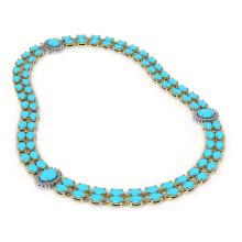 Lot 6826: 47.17 ctw Turquoise & Diamond Necklace 14K Yellow Gold - REF-437Y8X - SKU:44392