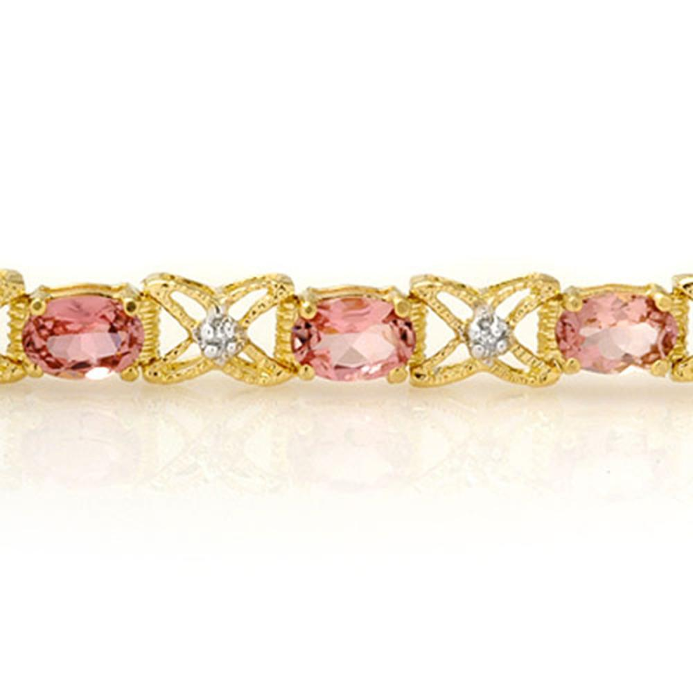 Lot 6828: 6.0 ctw Pink Tourmaline & Diamond Bracelet 14K Yellow Gold - REF-127R3K - SKU:14139