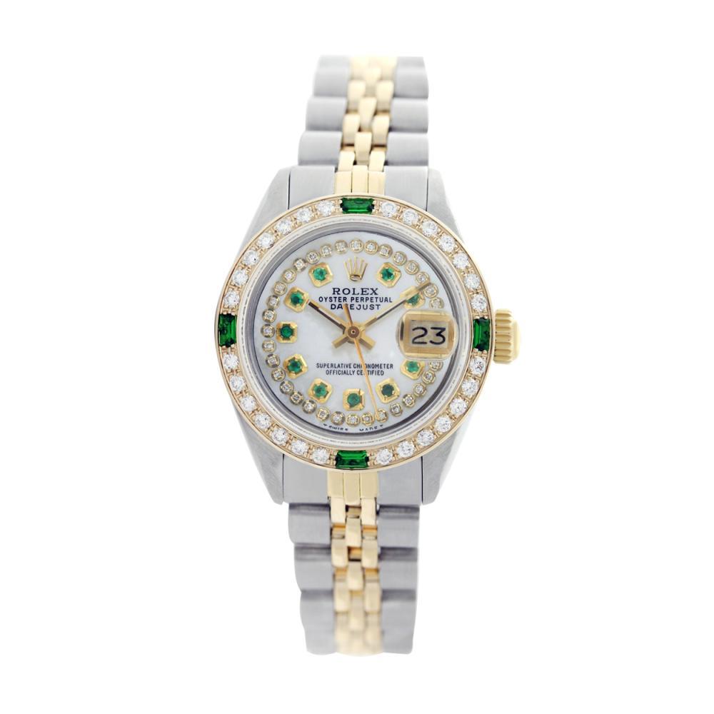 Lot 6805: Rolex Ladies Two Tone 14K Gold/SS, Diam/Emerald Dial & Diam/Emerald Bezel, Sapphire Crystal - REF-444K3T