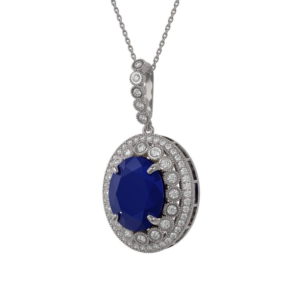 Lot 6812: 13.75 ctw Sapphire & Diamond Necklace 14K White Gold - REF-267A8V - SKU:43865