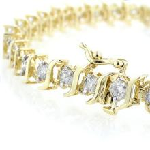 Lot 6833: 8.0 ctw VS/SI Diamond Bracelet 14K Yellow Gold - REF-560N7A - SKU:13243