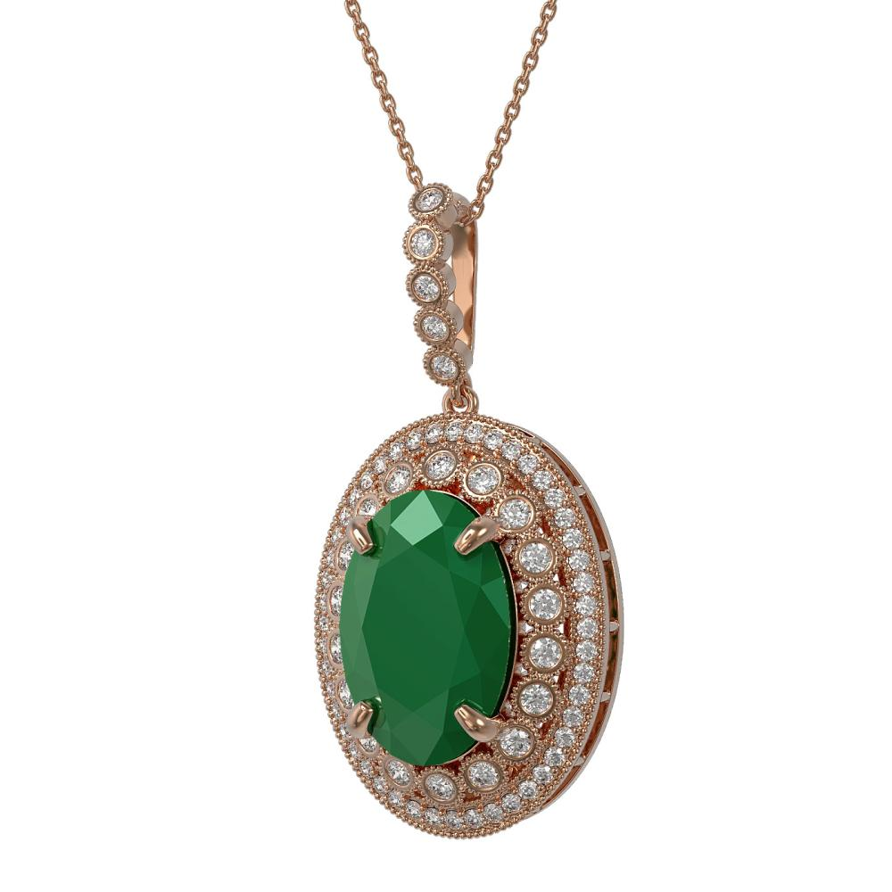 Lot 6824: 18.25 ctw Emerald & Diamond Necklace 14K Rose Gold - REF-343M5F - SKU:43893
