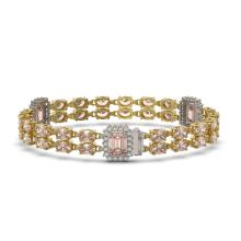 Lot 6834: 16.85 ctw Morganite & Diamond Bracelet 14K Yellow Gold - REF-324H4M - SKU:45037