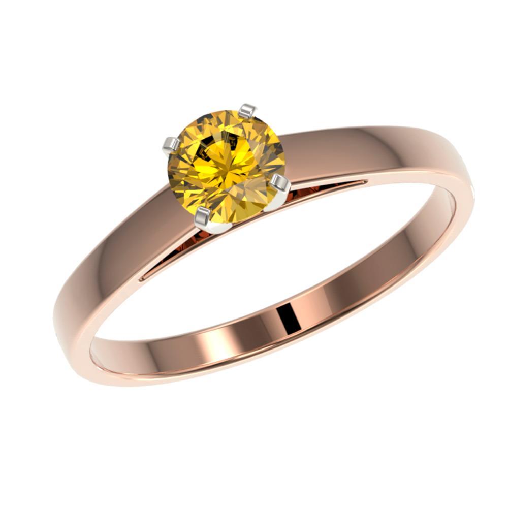 Lot 6863: 0.50 ctw Intense Yellow Diamond Ring 10K Rose Gold - REF-73V5Y - SKU:32961