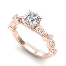 Lot 6832: 1.03 ctw VS/SI Diamond Solitaire Art Deco Ring 18K Rose Gold - REF-203A6V - SKU:36972