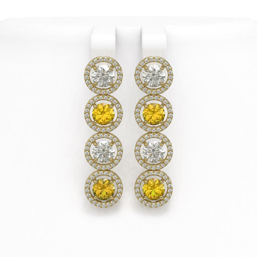 Lot 6827: 6.18 ctw Canary & Diamond Earrings 18K Yellow Gold - REF-665K7W - SKU:42694