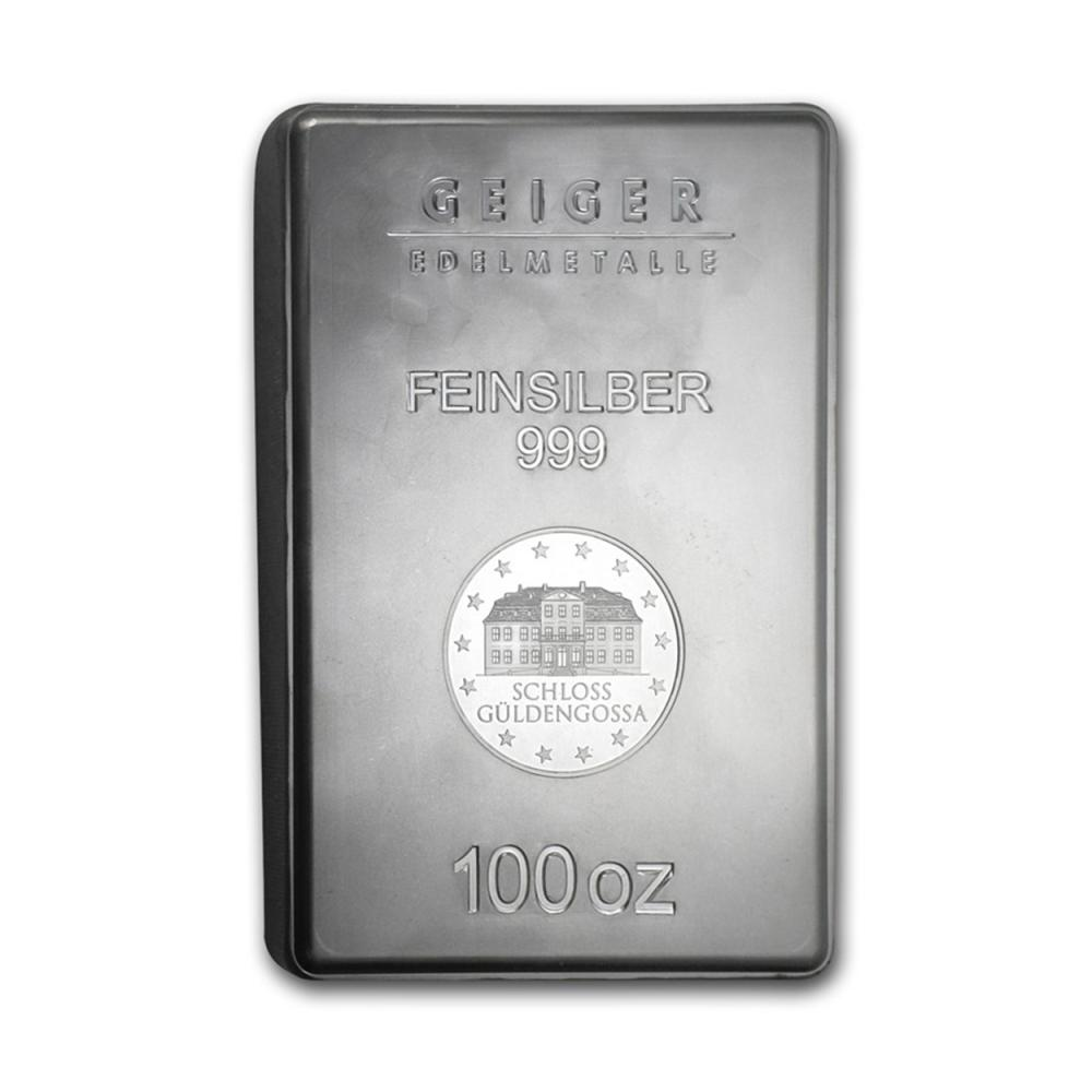 Lot 6831: One piece 100 oz 0.999 Fine Silver Bar Geiger Security Line Series-83341