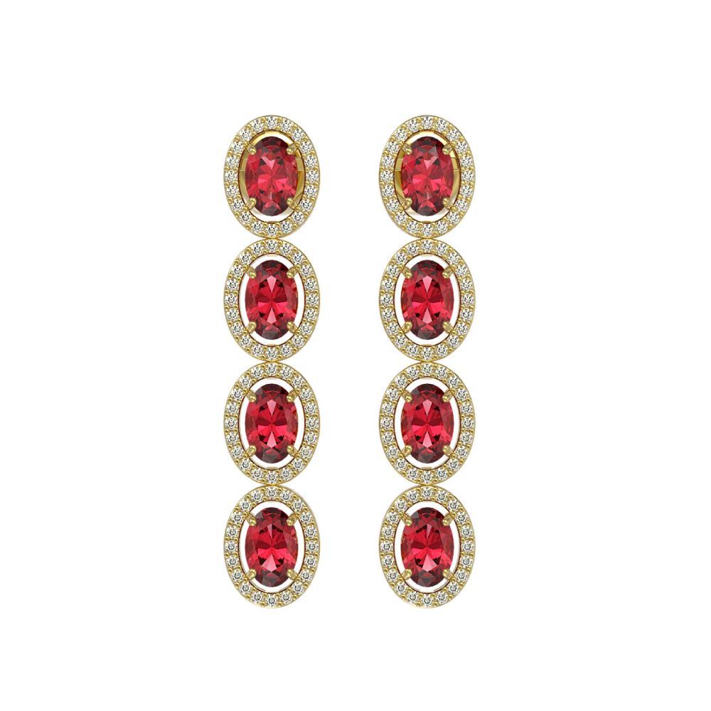 Lot 6839: 5.88 ctw Tourmaline & Diamond Halo Earrings 10K Yellow Gold - REF-125H5M - SKU:40522