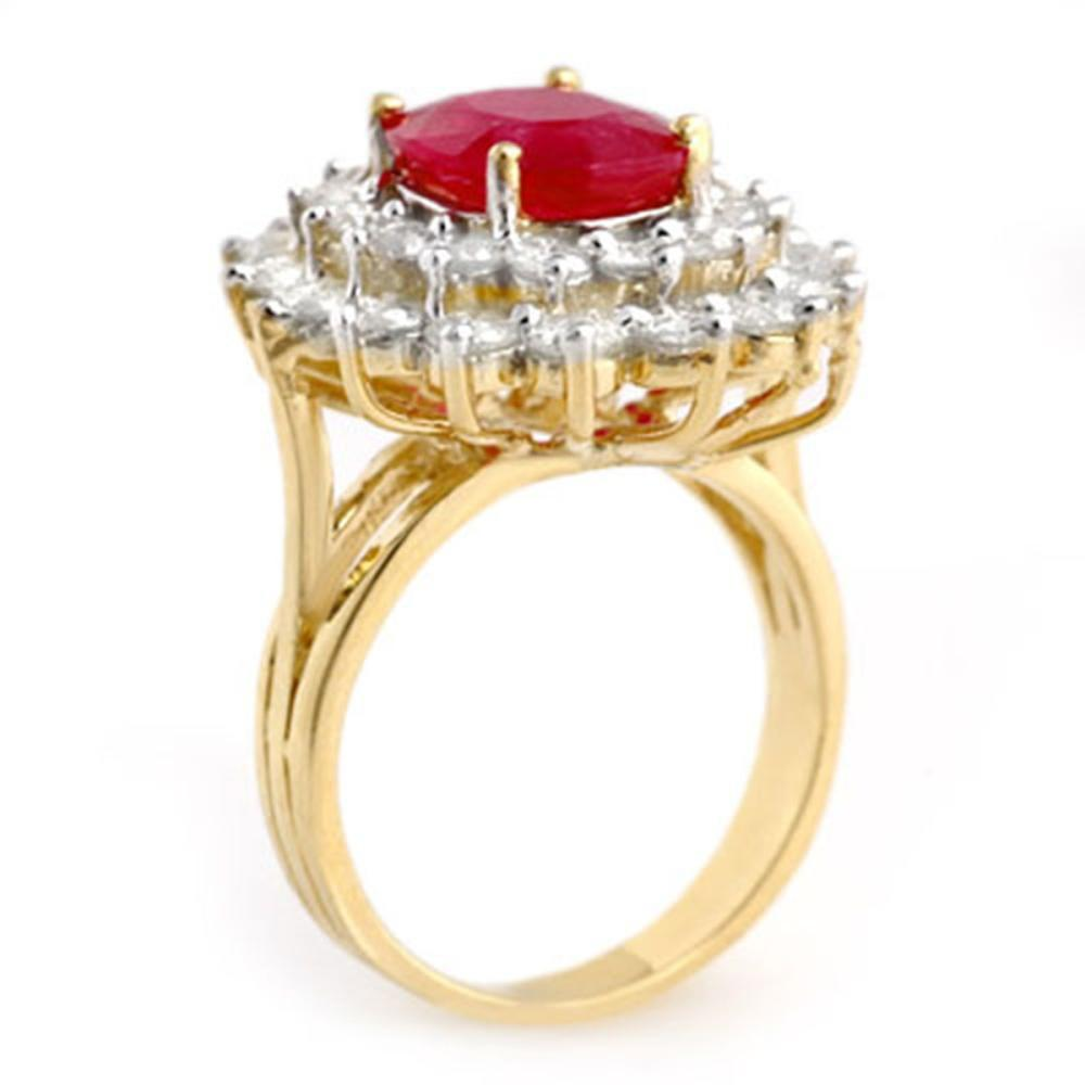 Lot 6890: 8.0 ctw Ruby & Diamond Ring 14K Yellow Gold - REF-252R7K - SKU:13270