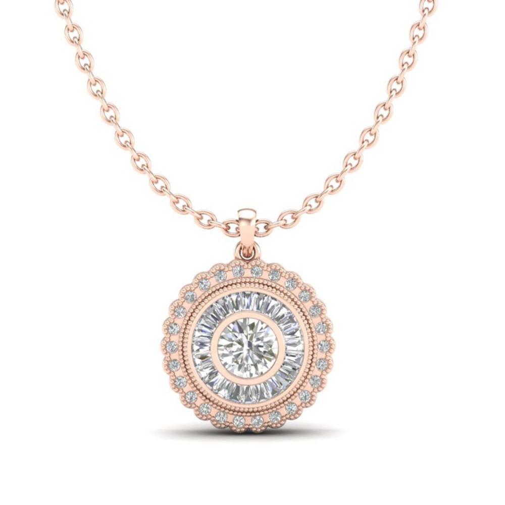 Lot 6862: 2.11 ctw VS/SI Diamond Solitaire Art Deco Necklace 18K Rose Gold - REF-309A3V - SKU:37086