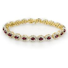 Lot 6856: 10.80 ctw Ruby & Diamond Bracelet 14K Yellow Gold - REF-345V5Y - SKU:13167