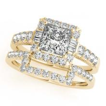 Lot 6867: 2.02 ctw VS/SI Princess Diamond 2pc Set Halo 14K Yellow Gold - REF-347N5A - SKU:31396