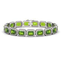 Lot 6855: 25.41 ctw Peridot & Diamond Halo Bracelet 10K White Gold - REF-365V8Y - SKU:41405