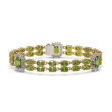 Lot 6858: 17.79 ctw Tourmaline & Diamond Bracelet 14K Yellow Gold - REF-297N8A - SKU:45046
