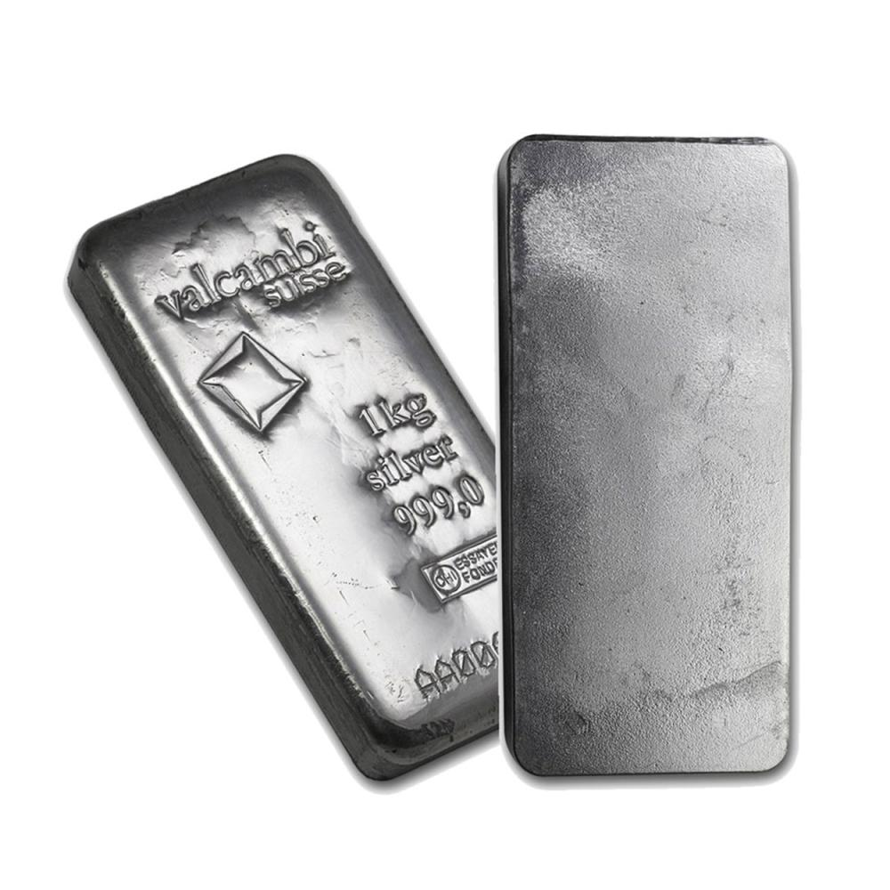 Lot 6860: One piece 1 kilo 0.999 Fine Silver Bar Valcambi with Assay-86730