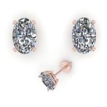 Lot 6920: 1.02 ctw VS/SI Oval Cut Diamond Stud Earrings 18K Rose Gold - REF-148K5W - SKU:32273