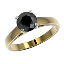 Lot 6903: 1.50 ctw Fancy Black Diamond Solitaire Ring 10K Yellow Gold - REF-49M5F - SKU:33024