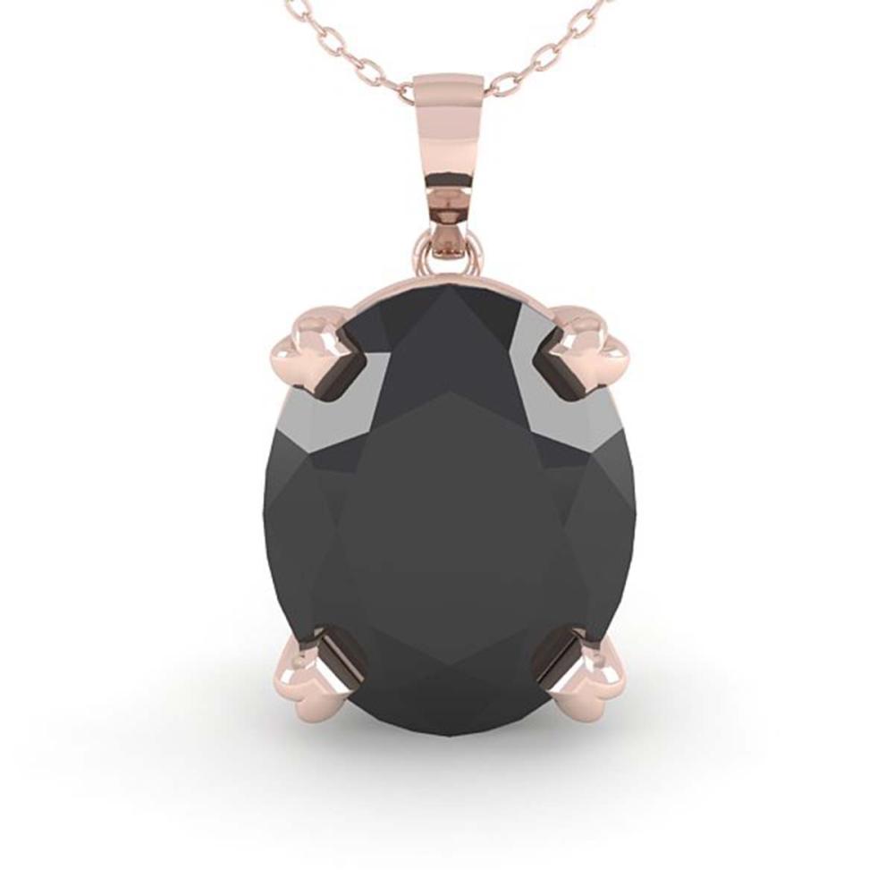 Lot 6913: 5.0 ctw Oval Black Diamond Necklace 14K Rose Gold - REF-94R8K - SKU:38433