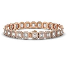 Lot 6916: 20.25 ctw Emerald Diamond Bracelet 18K Rose Gold - REF-3213A3V - SKU:42843