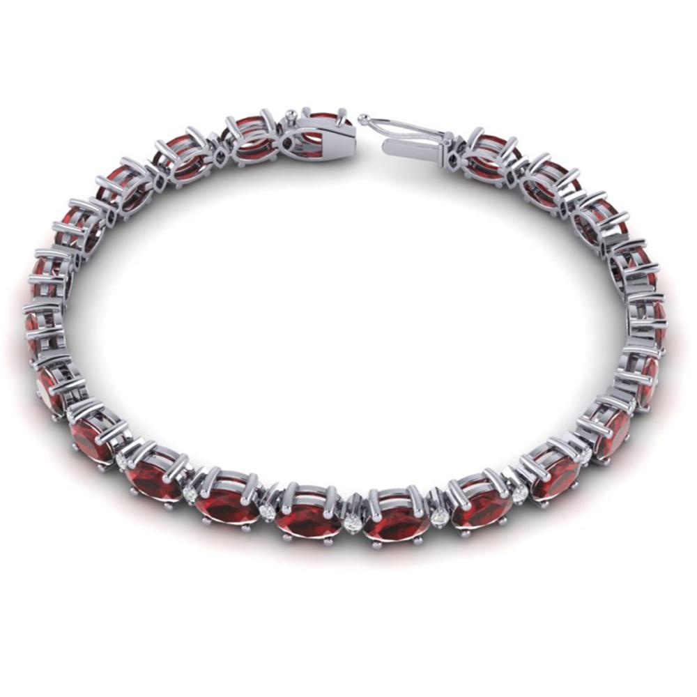 Lot 6943: 25.8 ctw Garnet & VS/SI Diamond Eternity Bracelet 10K White Gold - REF-119H3M - SKU:29452
