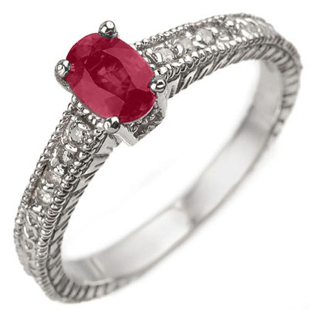 Lot 6881: 1.63 ctw Ruby & Diamond Ring 14K White Gold - REF-49W3H - SKU:13781