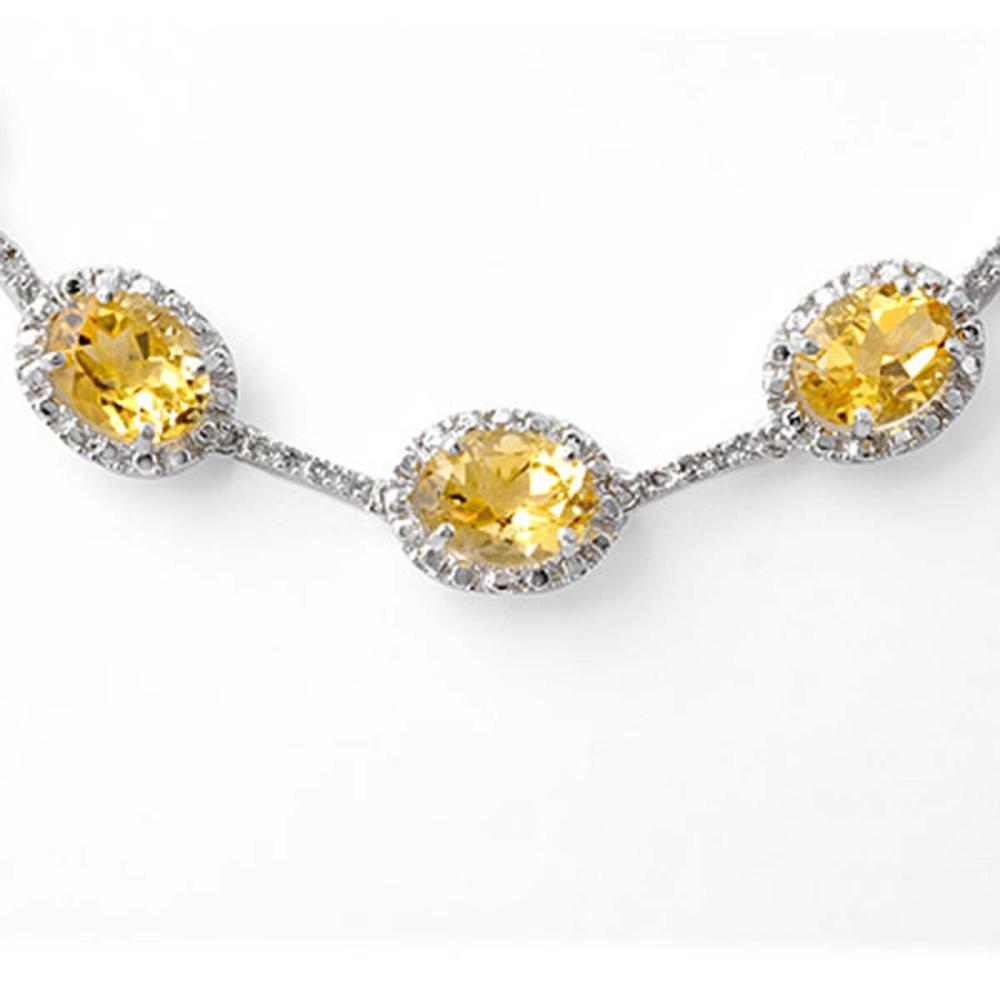 Lot 6950: 37.0 ctw Citrine & Diamond Necklace 14K White Gold - REF-263A6V - SKU:10065