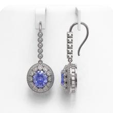 Lot 6995: 9.47 ctw Tanzanite & Diamond Earrings 14K White Gold - REF-315K6W - SKU:43610