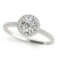 Lot 7024: 1.11 ctw VS/SI Diamond 2pc Wedding Set Halo 14K White Gold - REF-143N6A - SKU:30798