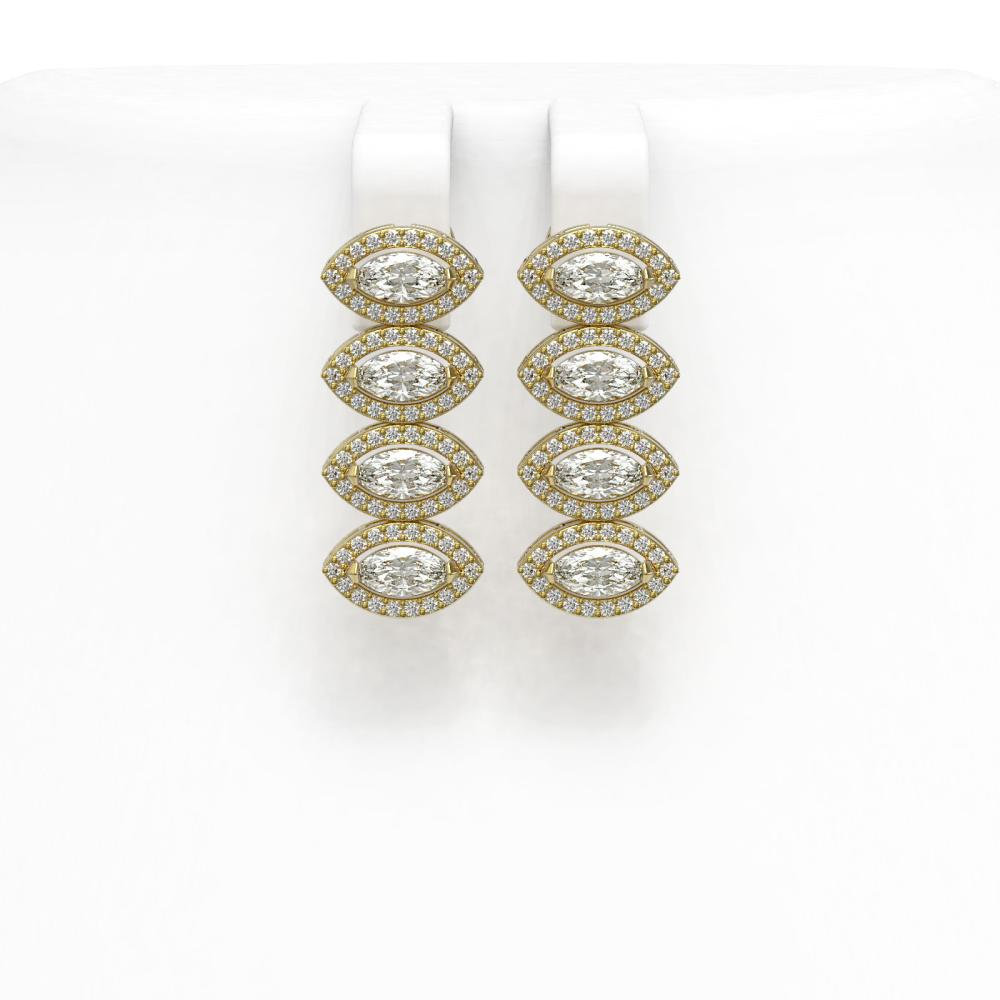 Lot 6897: 4.52 ctw Marquise Diamond Earrings 18K Yellow Gold - REF-381K7W - SKU:43090