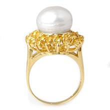 Lot 7051: 1.50 ctw Yellow Sapphire & Pearl Ring 10K Yellow Gold - REF-47K6W - SKU:10370
