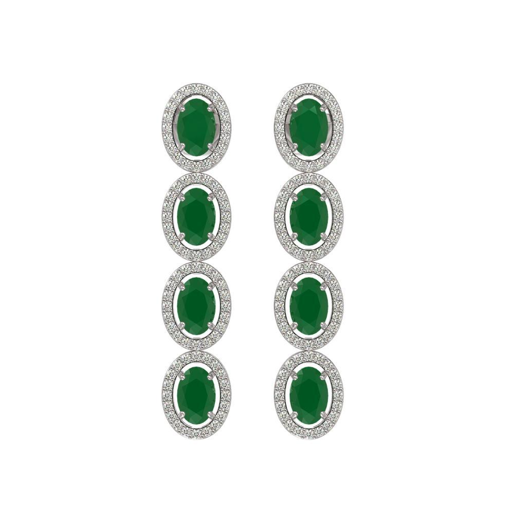 Lot 7055: 6.47 ctw Emerald & Diamond Halo Earrings 10K White Gold - REF-125W5H - SKU:40502
