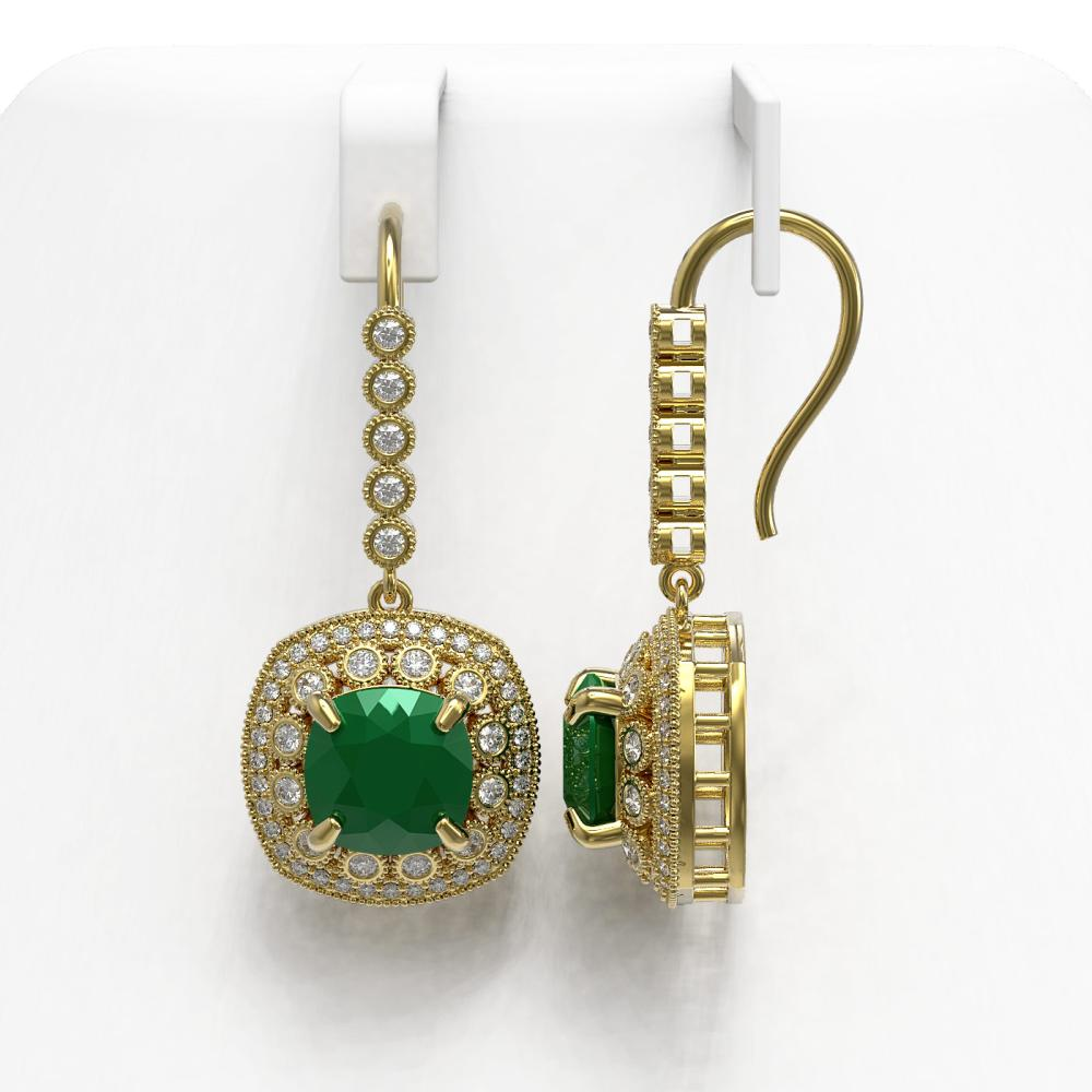 Lot 7020: 12.9 ctw Emerald & Diamond Earrings 14K Yellow Gold - REF-266R9K - SKU:43954