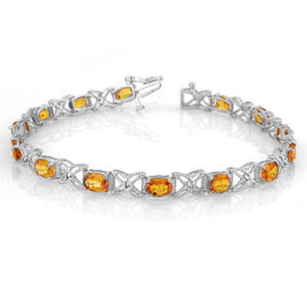 Lot 6891: 10.15 ctw Yellow Sapphire & Diamond Bracelet 18K White Gold - REF-163W6H - SKU:10919