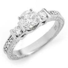 Lot 7028: 1.0 ctw VS/SI Diamond Ring 18K White Gold - REF-161H8M - SKU:11535