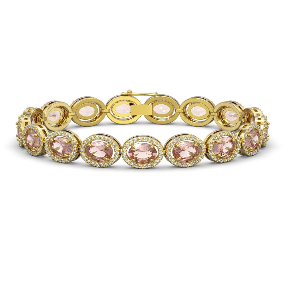 Lot 6898: 20.18 ctw Morganite & Diamond Halo Bracelet 10K Yellow Gold - REF-377F3N - SKU:40615